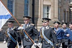 Marinheiros do russo que marcham através de Liverpool Imagens de Stock