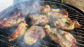 Mariniertes köstliches vorbereitendes Schweinefleisch über dem an Grill stock video
