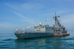 Marinkrigsskeppspring på havet i internationell hastig granskningdrillborr Royaltyfria Bilder