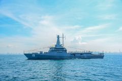 Marinkrigsskeppspring på havet i internationell hastig granskningdrillborr Royaltyfria Foton