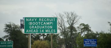 Marinrekryt Boot Camp Great Lakes Illinois royaltyfri foto