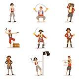 Marins de pirate avec des attributs classiques de Filibusterer réglés des personnages masculins de sourire avec des armes à feu e Photographie stock