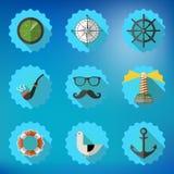 Marinsjöman Marine Flat Vector Icon Set Inkludera fisksonarradaen Arkivbild