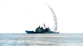 Marinskyttel som avfyrar av en missil för långt område vektor illustrationer