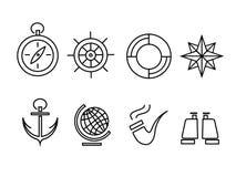 Marinsymbolsuppsättning royaltyfri illustrationer