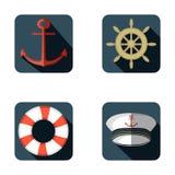 Marinsymbolsuppsättning, plan design, vektorillustration vektor illustrationer