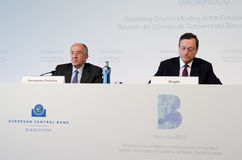 Mario Draghi e Miguel Fernández Ordóñez Foto de Stock Royalty Free
