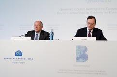 Mario Draghi und Miguel Fernández Ordóñez Lizenzfreies Stockfoto