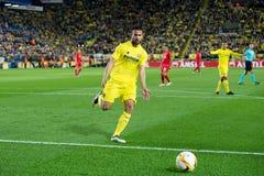 Mario Gaspar-spelen bij de Europa gelijke van de Ligahalve finale tussen Villarreal CF en Liverpool FC Stock Afbeelding