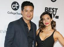 Mario Lopez and Courtney Laine Mazza stock photography