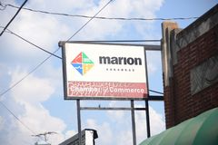 Marion Arkansas Chamber of Commerce Sign. Marion is a city in and the county seat of Crittenden County, Arkansas, United States. The population was 12,345 at royalty free stock image