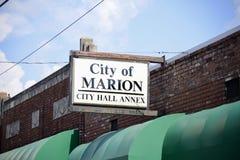 Marion Arkansas City Hall Annex-Teken Royalty-vrije Stock Foto's