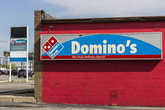 Marion - Circa April 2017: Domino`s Pizza Carryout Restaurant. Domino`s is 97% franchise-owned with 840 independent owners VIII. Domino`s Pizza Carryout Royalty Free Stock Photography