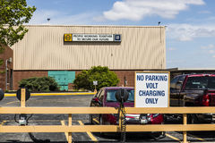 Marion - Circa April 2017: Special area at the General Motors Metal Fabricating Division set aside for charging of the Chevrolet V Stock Images