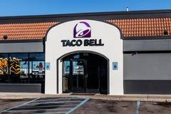 Marion - Circa Januari 2018: Kleinhandels het Snelle Voedselplaats van Taco Bell Taco Bell is een Dochteronderneming van Yum! Mer stock foto's