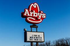 Marion - Circa Januari 2018: Plaats van het Arby` s de Kleinhandels Snelle Voedsel Arby ` s stelt meer dan 3.300 restaurants in w royalty-vrije stock foto's