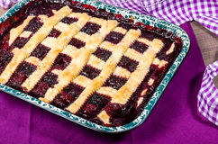 Marionberry cobbler with crossed crust Stock Image