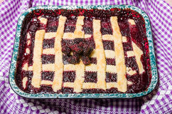 Marionberry cobbler with crossed crust Stock Photo