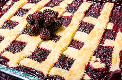 Marionberry cobbler with crossed crust Royalty Free Stock Photo