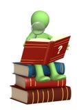 Marionet, die het woordenboek leest stock illustratie
