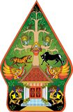 Marionet van de de Kleuren Indonesische Traditionele Schaduw van Wayanggunungan de Groene - Vectorillustratie vector illustratie