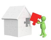 marioneta 3d, construyendo la casa ilustración del vector