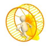 marioneta 3d, ejecutándose dentro de una rueda stock de ilustración
