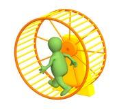 marioneta 3d, ejecutándose dentro de una rueda ilustración del vector