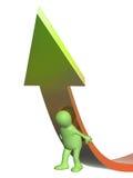 marioneta 3d, apoyando una flecha Fotografía de archivo