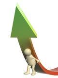 marioneta 3d, apoyando una flecha Imagenes de archivo