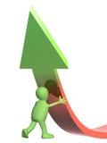 marioneta 3d, apoyando una flecha Imagen de archivo