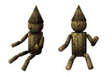 Marioneta de madera aislada Fotografía de archivo libre de regalías