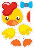 Marioneta de papel del pollo stock de ilustración