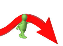 Marioneta que apoya la flecha del color rojo Imagen de archivo