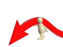 Marioneta que apoya la flecha del color rojo Imagen de archivo libre de regalías