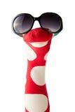 Marioneta roja y blanca colorida del calcetín del lunar Foto de archivo