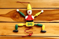 Marioneta vieja del bozo del juguete Foto de archivo libre de regalías