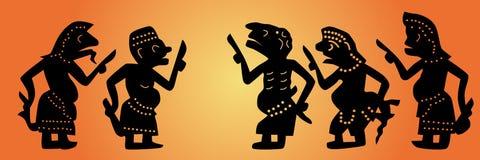 Marionetas de la sombra fijadas Imágenes de archivo libres de regalías