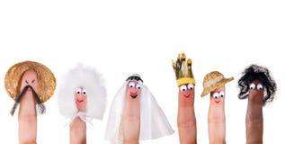 Marionetas del finger de las razas humanas Foto de archivo