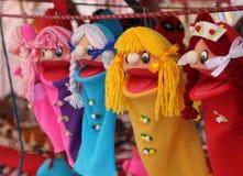 Marionetas hechas a mano coloridas Imágenes de archivo libres de regalías