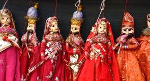 Marionetas hechas a mano indias Fotografía de archivo