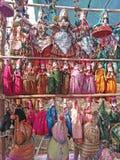 Marionetpoppen voor verkoop op Woensdagvlooienmarkt in Anjuna, Goa, India royalty-vrije stock fotografie