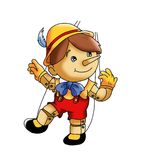 Marionette. Colored illustration of Pinocchio, a wood child Royalty Free Stock Images