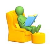 Marionette 3d, das Buch in einem weichen Lehnsessel lesend Lizenzfreie Stockfotos