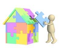 Marionette 3d, das Haus aufbauend Stockfoto