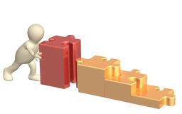 Marionette 3d mit Puzzlespielen Lizenzfreie Stockbilder