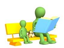 Marionette - Muttergesellschaft, zum Kind das Buch lesend Stockfoto