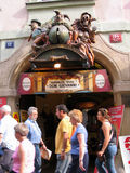 Marionette theater entrance decorated by sculptures in Old Town Stock Photography