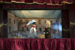 Marionette theatre. With Pulcinella in Giffoni Royalty Free Stock Images