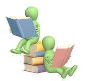 Marionetten 3d, das Buch lesend Lizenzfreies Stockfoto
